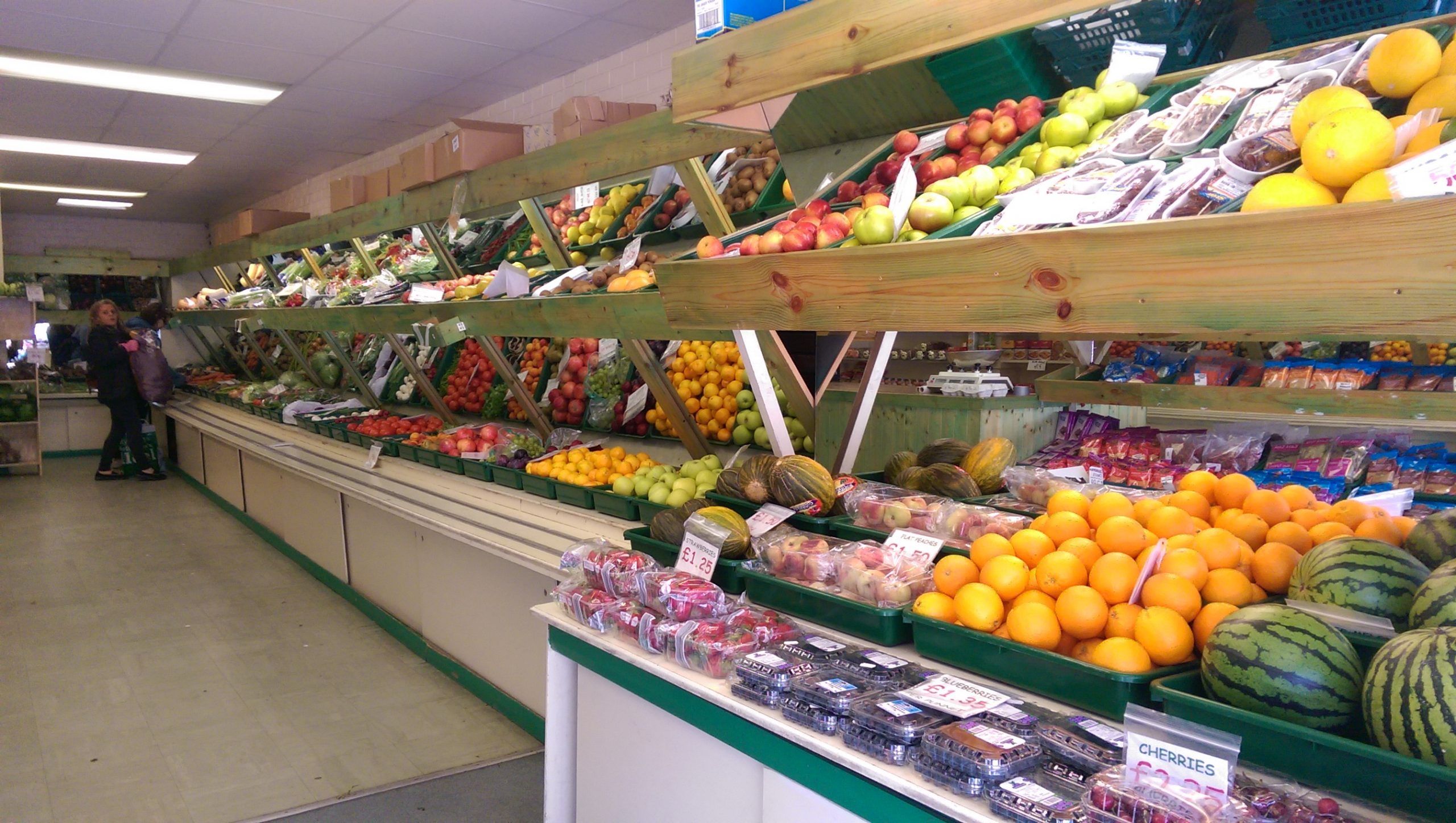 Rows of delicious fruit and veg at Pippins