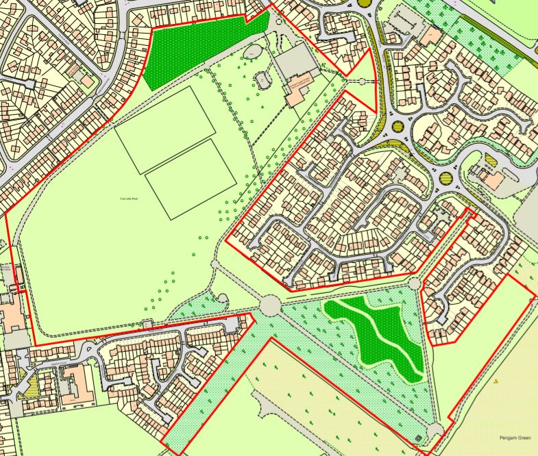 Proposed 'one mow' areas in Moorland Park - highlighted in dark green